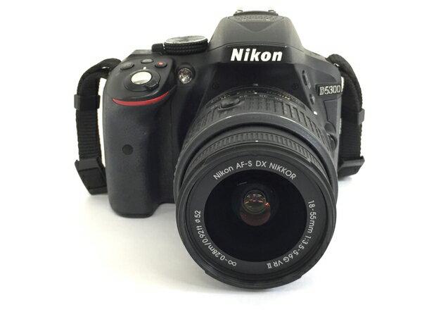 【中古】 Nikon D5300 18-55mm VR II レンズ キット ブラック デジタル 一眼レフ カメラ 2416万画素 ニコン T3702360