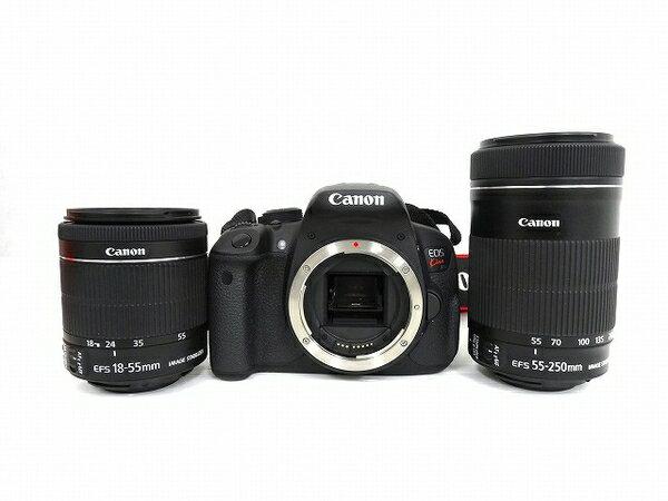 【中古】 Canon EOSkiss X7i ダブル ズーム キット デジタル 一眼レフ カメラ キャノン レンズ 18-55mm 55-250mm O3086103