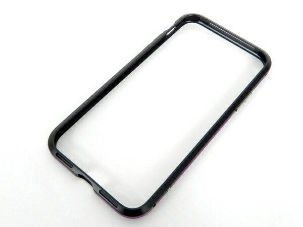 美品 【中古】 藤本電機 BPi8-02PU PREMIUM ALUMINUM BUMPER バンパー iPhone X ブラック パープル アイフォン ケース K3639670