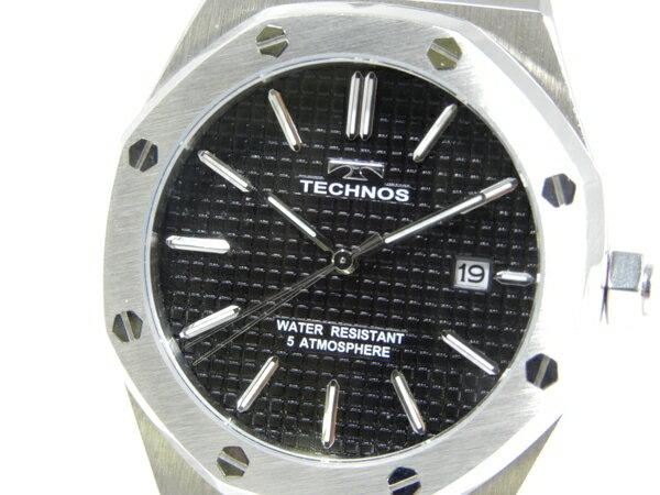 美品 【中古】TECHNOS クロノグラフ 観音式バックル シルバー K3215990