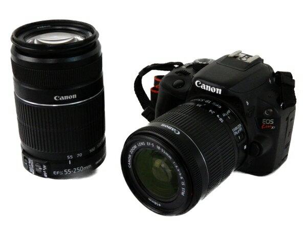 【中古】 Canon キャノン 一眼 レフ EOS Kiss X7 ダブル ズーム キット カメラ デジタル 機器 Y3547768