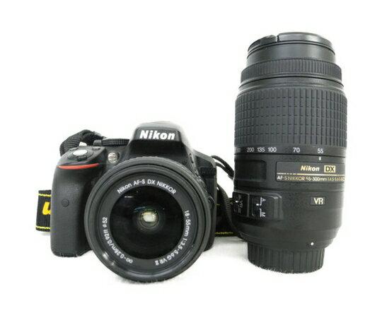 【中古】 Nikon 一眼レフ カメラ D5300 レンズ キット 18-55mm 55-300mm ダブルズームキット N3414968