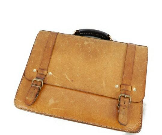 【中古】 HERZ ヘルツ ブリーフ ケース ビジネス バッグ レザー 鞄 キャメル K3701300