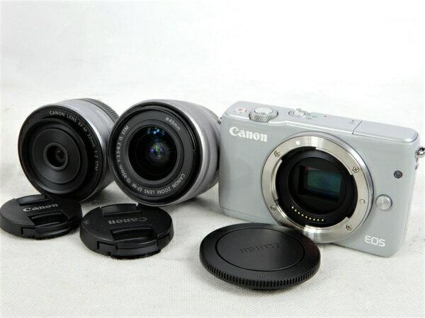 美品 【中古】 Canon キヤノン ミラーレス 一眼 EOS M10 ダブルレンズキット グレー カメラ K3406464