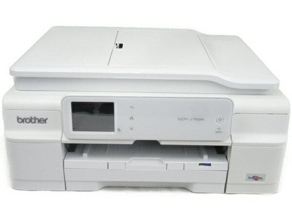 【中古】brother DCP-J752N インクジェットプリンター 複合機 ホワイト 外箱なし N3845294