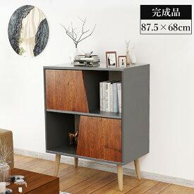【送料無料】サイドボード 収納ボード 木製 ナチュラル ブラウン 幅68*高さ87.5cm 収納付き リビングボード 飾り棚 家具 WF00148