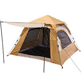 テント 3〜4人用 窓三つ ワンタッチテント アウトドア 設営簡単 自立式 超軽量 防風防水 通気性 持ち運び便利 収納コンパクト 紫外線防止 キャンプ用品 3色選択