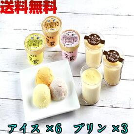 江戸屋 乳蔵 アイス & 北海道 プリン セット 送料無料 スイーツ 計9個 入り 北海道産 バニラ 苺 メロン 使用