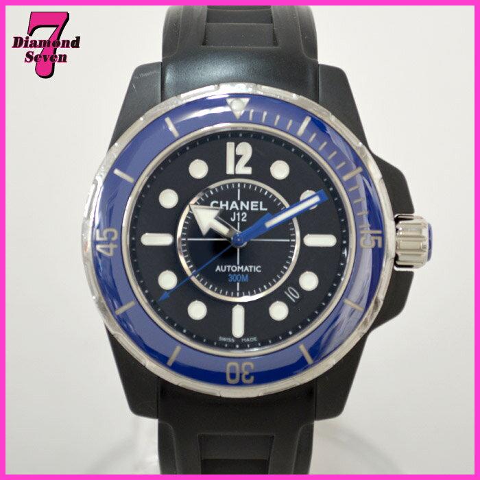 【送料無料】【中古】CHANEL J12 マリーン ブルー 42mm H2559 セラミック オートマ AT ラバーベルト メンズ 時計 シャネル