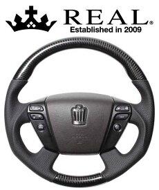 REAL STEERING オリジナルシリーズ トヨタ ヴェルファイア ハイブリッド ATH20W用 カラー:ブラックカーボン(ダークワインユーロステッチ) (H20-BKC-DW)【ハンドル】レアル ステアリング