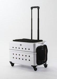 Rui&Aguri ペットキャリーケース ハードタイプ ホワイト 幅55×奥行37×高さ37cm (PK-02B-55) 【ペット用品】 ルイ&アグリ 白 お出かけ 旅行ハウス 車内ケージ 犬イヌ猫ネコ用 キャリーバッグ かわ