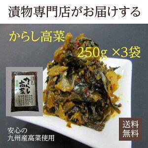 【送料無料】九州産高菜使用 辛子高菜 250g×3袋 からし高菜 漬物 福岡 博多 国産 ポイント消化