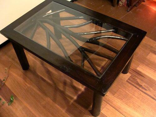 アジアン家具 バリ ♪ARナチュラル ガラステーブル(M)♪ 【送料無料】【ヤヤパプス】 テーブル ローテーブル ガラス 木製 チーク エスニック