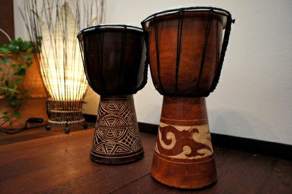アジアン雑貨 バリ ♪スカルプジャンベ(S)♪ 【ヤヤパプス】 ジャンベ インテリア 楽器 置物 オブジェ 木製 エスニック