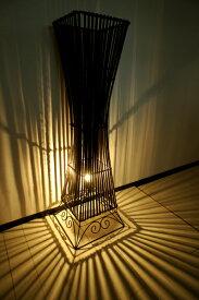 11月中旬入荷予定 スタンドライト フロアライト 照明器具 インテリア照明 間接照明 花台 ♪バンブーリブランプ(花台付き)100cm L♪ アジアン照明 バリ フロアスタンド エスニック リゾート リビング ダイニング 寝室