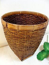 アジアン雑貨 バリ (ロンボク島のシンプル バスケット(M)) バスケット かご ごみ箱 ダストボックス バンブー エスニック リゾート