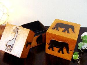 ウッドトレイ ウッドボックス アクセサリーケース アニマル アジアン雑貨 バリ ♪アニマルBOX小物入れ(キューブ型 S)♪ エスニック リゾート インテリア雑貨 収納雑貨 収納家具