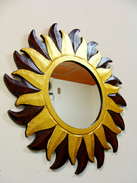 アジアン雑貨 バリ (お日様 ミラー Sサイズ) 壁掛けミラー 鏡雑貨 エスニック リゾート