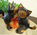 アジアン 雑貨 バリ ♪ハートペアネコ(ブラック/ナチュラル/レッド)♪ 【送料無料】【YAYAPAPUS】 置物 オブジェ 猫 ネコ エスニック