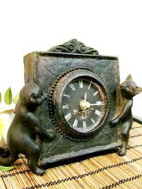 置き時計 テーブルクロック アニマル ねこ 猫 アジアン雑貨 バリ ♪ブロンズ調ネコ置時計(2匹タイプ)♪ アジアン雑貨 オブジェ 天然木 アンティーク エスニック リゾート インテリア雑貨 玄関 エントランス