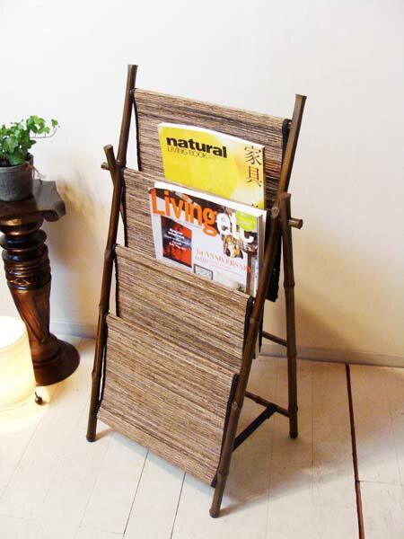 5月下旬入荷予定 アジアン家具 バリ (竹とココスティックのマガジンラック(折りたたみ式)) マガジンラック 本棚 雑誌棚 エスニック リゾート