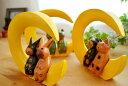 アジアン バリ 猫 雑貨 カエル グッズ 置物 ♪三日月に乗ったアニマルカップル(M)(ネコ/カエル/ウサギ)♪ 【ヤヤ…