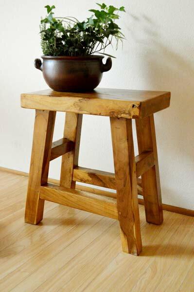 4月中旬入荷予定 アジアン家具 バリ (古木チークの一枚板ナチュラルベンチ(1人掛け)) スツール 木製 花台 ベンチ イス 椅子 チェア チーク材 エスニック リゾート