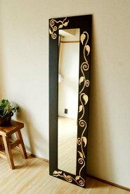 鏡 スタンドミラー 姿見鏡 全身鏡 壁掛け アンティーク (スカルプリーフの姿見) アジアン雑貨 バリ エスニック リゾート インテリア雑貨 ウォールミラー 木製 ナチュラル バリ風インテリア
