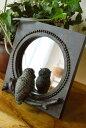 アジアン雑貨 バリ ♪のぞき見フクロウの置き鏡(ブロンズ調)♪ 【YAYAPAPUS】 鏡 卓上 ミラー スタンド エスニック