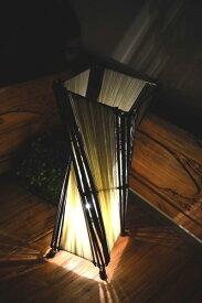 ★キャッシュレス5%還元対象★間接照明 スタンドライト フロアライト 照明器具 インテリア照明 おしゃれ ♪バンブーとコットンのトルネードランプM50cm(花台付)♪ アジアン照明 バリ フロアスタンド エスニック リゾート リビング ダイニング 寝室