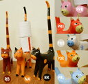 アジアン雑貨 バリ 猫 トイレットペーパー 収納 ♪しっぽネコのトイレットペーパーホルダー(各8色)♪ 【送料無料】【ヤヤパプス】 エスニック ねこ 置物 オブジェ グッズ 木製