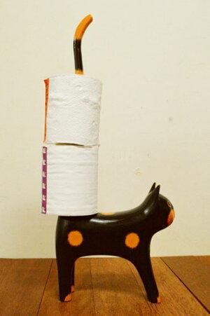 アジアン雑貨バリ♪しっぽネコのトイレットペーパーホルダー(各8色)♪【送料無料】【05P19May15】置物オブジェ木製母の日ギフト