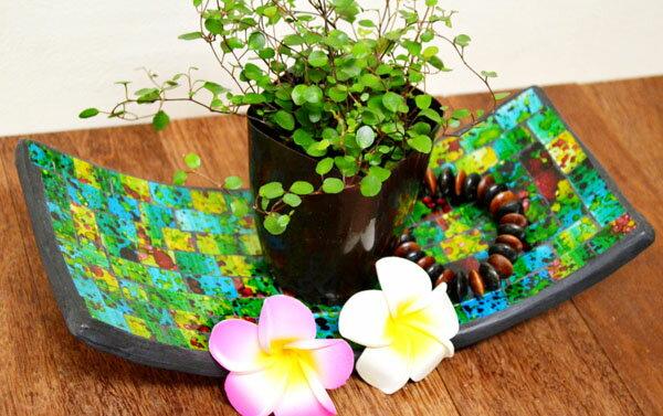 アジアン雑貨 バリ (モザイクガラスのトレイ長方形B(緑)L) 小物入れ トレー エスニック リゾート