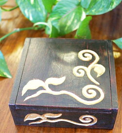 アジアン雑貨 バリ (リーフ柄BOX(正方形)S) おしゃれ インテリア エスニック 小物入れ 木箱 エスニック リゾート