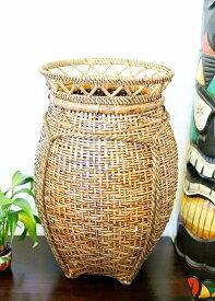 アジアン雑貨 バリ (バンブー&ラタンのシェイプバスケット) おしゃれ インテリア エスニック かご 小物入れ ゴミ箱 リゾート