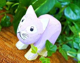 アジアン雑貨 バリ (パステルウッドネコ(ラベンダー)) おしゃれ インテリア エスニック 木彫り 猫 オブジェ リゾート