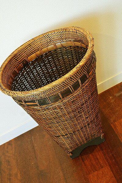 アジアン バリ 雑貨 (ロンボク島のラタンとバンブー編込みバスケット(シンプルタイプLサイズ)) おしゃれ インテリア エスニック バスケット 収納 ゴミ箱 鉢カバー リゾート