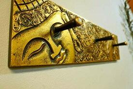 アジアン バリ 雑貨 (ブッダレリーフハンガー(ゴールド)) おしゃれ インテリア エスニック ハンガーフック 帽子掛け