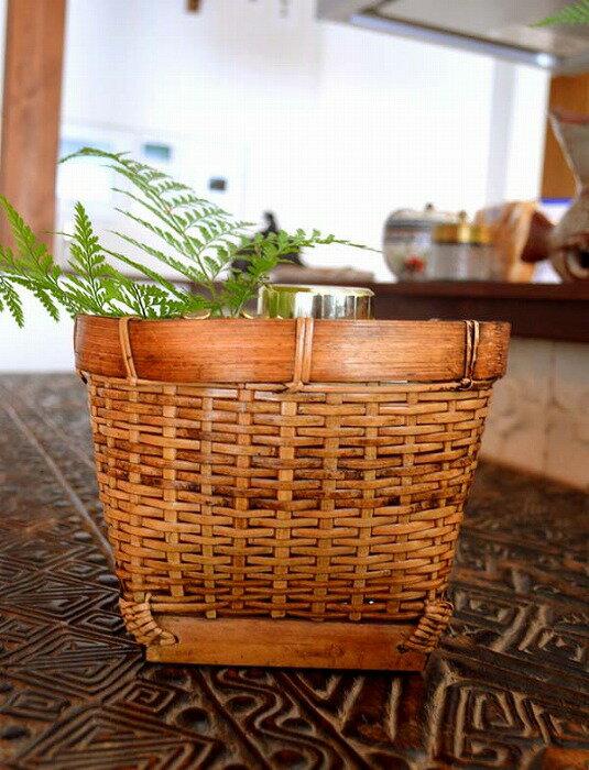 アジアン バリ 雑貨 ♪シンプルショートバスケットS♪ おしゃれ インテリア エスニック かご バンブー 小物収納 鉢カバー