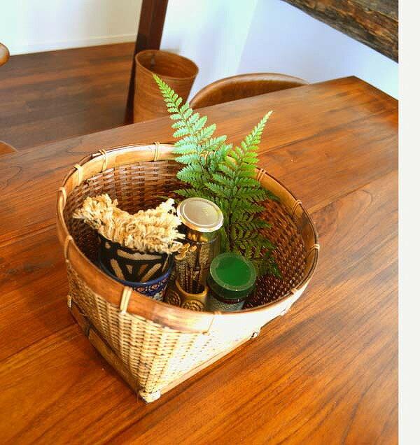 アジアン バリ 雑貨 ♪シンプルショートバスケットL♪ おしゃれ インテリア エスニック かご バンブー 小物収納 鉢カバー