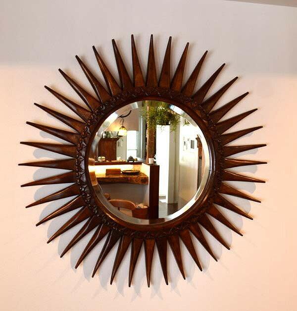 アジアン バリ 雑貨 ♪マタハリ彫刻ミラー 80cm♪ 【送料無料】 おしゃれ インテリア エスニック 鏡 太陽の形 壁掛け
