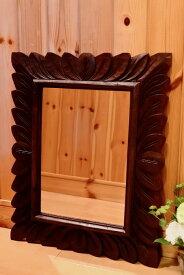 アジアン バリ 雑貨 ♪バリ島のリーフ彫刻ミラー♪ おしゃれ インテリア エスニック 鏡 壁掛けフック 立て掛け