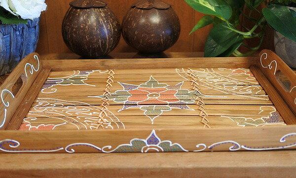 アジアン バリ 雑貨 ♪アジアンバンブーお盆トレイL♪ おしゃれ インテリア エスニック 竹 トレイ キッチン用品
