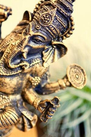 アジアンバリ雑貨♪ガネーシャ樹脂MサイズA♪おしゃれインテリアエスニック福の神オブジェ置物