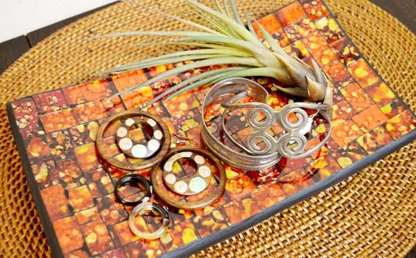 アジアン バリ 雑貨 ♪モザイクガラスのトレイ長方形(オレンジ)S♪ おしゃれ インテリア エスニック ガラス トレイ 小物整理