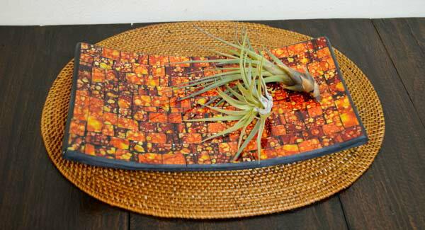 アジアン バリ 雑貨 ♪モザイクガラスのトレイ長方形(オレンジ)M♪ おしゃれ インテリア エスニック ガラス トレイ 小物整理