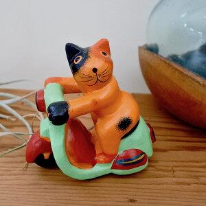 アジアン雑貨置物オブジェオーナメントネコ猫ねこグッズ結婚祝い木製魚ベンチカップルネコ♪【P0620】