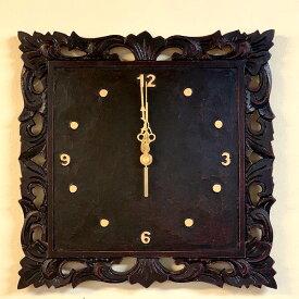 【1月中旬入荷予定】アジアン バリ 雑貨 ♪フォリウム彫刻壁掛け時計♪ おしゃれ インテリア エスニック ウォールクロック 壁飾り