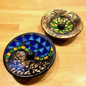 アジアン バリ 雑貨 ♪モザイクガラスお香立てミニ丸(ゴールド・ブルー)♪ おしゃれ インテリア エスニック お香スタンド フレグランス