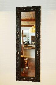 アジアン家具 木製 バリ ♪ (9月下旬入荷予定)バリ島の花彫刻の姿見♪ 【送料無料】 おしゃれ インテリア エスニック 姿見 全身鏡 ウォールミラー